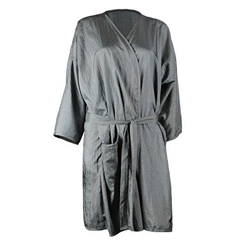 Segbeauty Spa Massage Kunden Kleid, Salon Kimono Robe für Shampoo Make-up, Schillernd Grau Nylon Kittel Kleid für Schönheitssalon, Klient Wickeln Uniform oder Laborkittel (Lange Robe Spa)