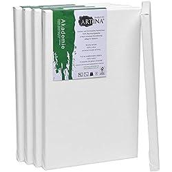 Artina Akademie certificación FSC® Set de 5 Lienzos - 20x30 cm 100% algodón Lienzo y Bastidor Blancos - 280g/m² - no se deforma