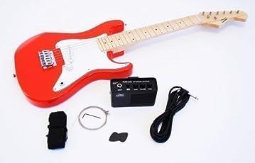 1/2 Kinder E-Gitarre Set mit Verstärker und Zubehör (rot)