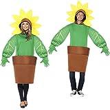 NET TOYS Kostüm Sonnenblume Jumpsuit Blume Unisex Faschingskostüm Blümchen ausgefallenes Ganzkörperkostüm Karnevalskostüm Sonnenrose Gärtnerin Kostüm Blumentopf