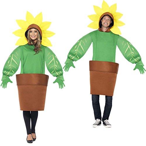 Jumpsuit Blume unisex Faschingskostüm Blümchen ausgefallenes Ganzkörperkostüm Karnevalskostüm Sonnenrose Gärtnerin Kostüm Blumentopf (Sonnenblumen Kostüme)