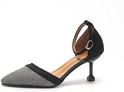 Xue Qiqi Calzature donna elegante a tacco alto scarpe alla moda con punta fine e dorata 35