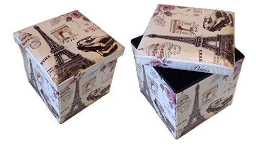 GMMH Hocker Sitzhocker Paris beige Original Box Aufbewahrungsbox Sitzwürfel Truhe Fußbank Sitzbank Faltbar