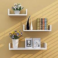 DECORVAIZ Wooden Wall U Rack Shelves White Set of Three Shelves DECORVAIZ Wooden Wall Rack Shelves White Set of Three…