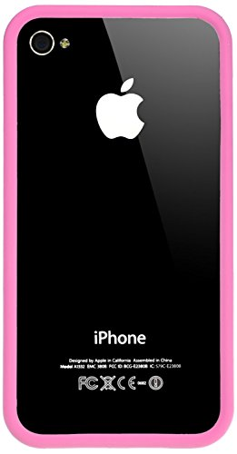 Horny Protectors Bumper für Apple iPhone 4 rosa/weiß mit Metallbutton rosa/transparent
