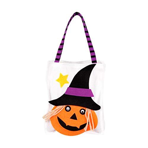 Halloween Süßes oder Saures Taschen Kürbis Umhängetasche Süße Süßigkeiten Geschenk Tasche Canvas Einkaufstasche für Erwachsene - Big Cat Ghost Kostüm