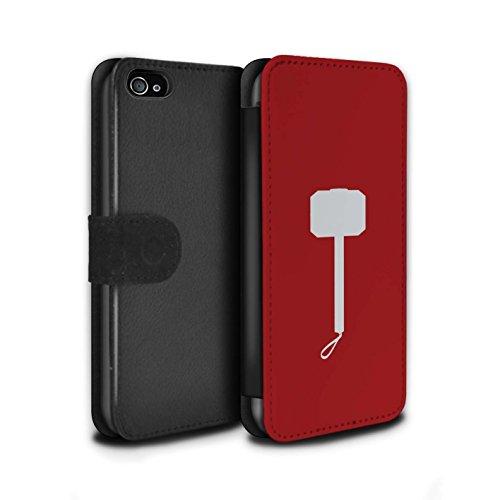 Stuff4® PU-Leder Hülle/Case/Tasche/Cover für Apple iPhone 4/4S / Thor Hammer Inspiriert Muster/Superheld Comic-Kunst Kollektion (Fälle Marvel-comic-iphone 4)