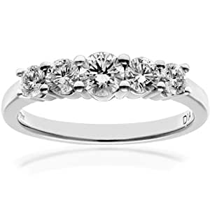 Naava Platinum 5 stone Eternity Ring, H/SI Certified Diamonds, Round Brilliant, 0.75ct