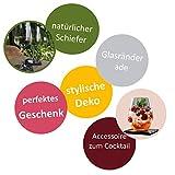 Fiterio 8er Set Glasuntersetzer aus Schiefer - Premium Schieferplatte als Glas Topf Untersetzer in Edler Holzbox - Schiefertafel Servierplatten - 7
