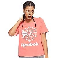 Reebok Women's Activchill Graphics T-Shirt, White (Bright Rose/White), Medium