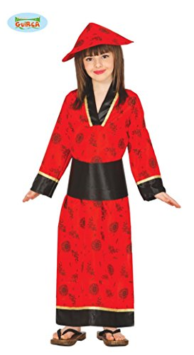 Guirca Chinesin Kinderkostüm Roter Kimono Rote Asiatin Mädchen Kleid Rot Lang Kinderkostüm Gr. 98-146, Größe:122/128