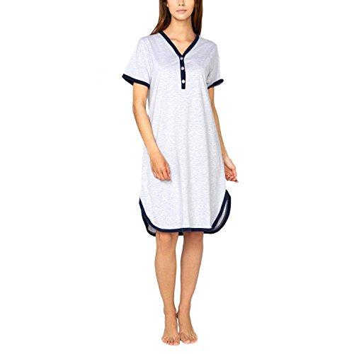 Alkato Damen Kurzarm Stillnachthemd V-Ausschnitt Knopfleiste, Farbe: Grau/Dunkelblau, Größe: 3XL