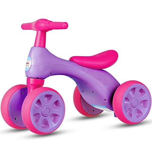 COSTWAY Baby Laufrad | Lauflernrad 4 Rädern | Rutscherfahrzeug Kleinkind | Kinder Balance Bikes | Spielzeug Farbwahl (Rosa)