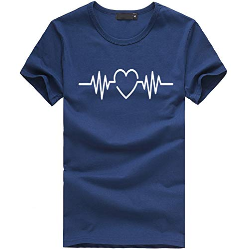 ESAILQ Frauen Sommer Wimpern Top Kurzarm Bluse Casual Lose Tops T-Shirt (XL, Navy-6) -