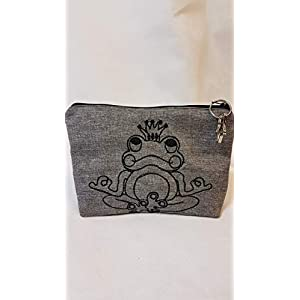 Frosch Yoga Tasche Kosmetiktasche Stiftetasche Mäppchen grau Yogatasche mit Anhänger Stern