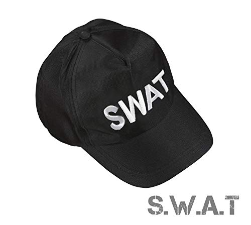Team Kind Kostüm Swat - TK Gruppe Timo Klingler S.W.A.T Polizei Cap Kappe Schilmütze Basecap Swat FBI Mütze als Kostüm Accessoire Verkleidung Kostüm Damen & Herren, Fasching Karneval