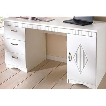 Schreibtisch weiß landhaus  8053-2 - Schreibtisch im Landhaus-Stil, in weiß