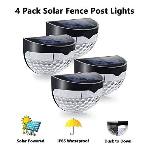 Solarbetriebene 6 helle LED-Tür-Zaun-Wandleuchten für den Außenbereich, Gartenhaus, dekorative wasserdichte Solarleuchten, kabellose Sensor-Lampen, 4 Stück, Black shell white light