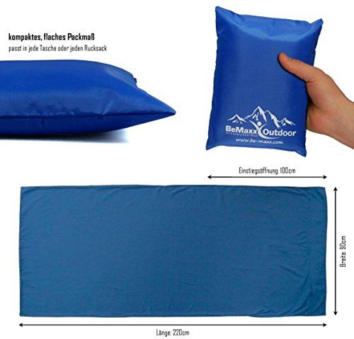 41rMvGC%2BDDL - BeMaxx Sleeping Bag Liner + Pillow Inlet Outdoor – Compact, Lightweight Inlay | Summer Microfibre Bedroll | Space–saving…