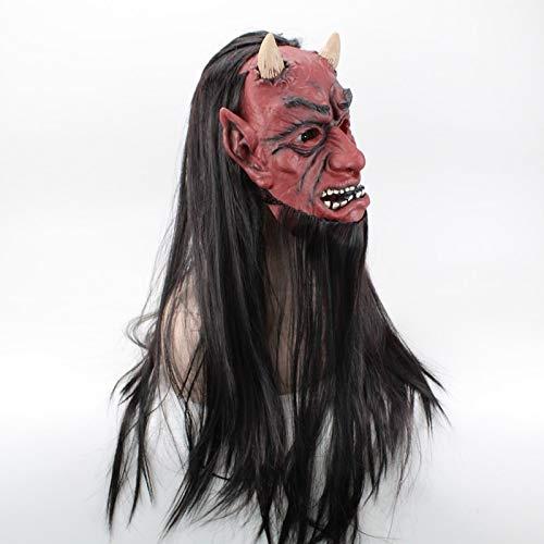 MASKUOY Halloween-Maske Erröten Langes Haar Vampir Maske Vollgesichts Latex Erwachsene Masken Hut Für Maskerade Halloween Kostüm Bar Realistische - Mitternacht Vampir Kostüm Kind