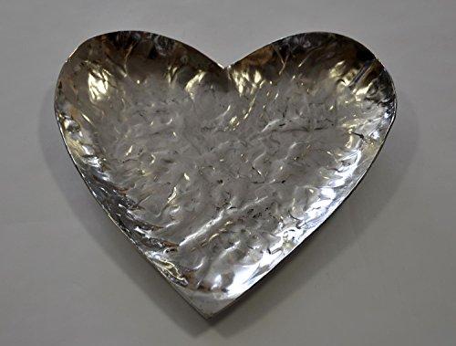 Casablanca Schale Heartbeat Metall silber 21cm 33234 Deko Schale Teller Hochzeit Kerzen Teller Tischdeko