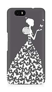 AMEZ designer printed 3d premium high quality back case cover for Huawei Nexus 6P (grey white girl princess)