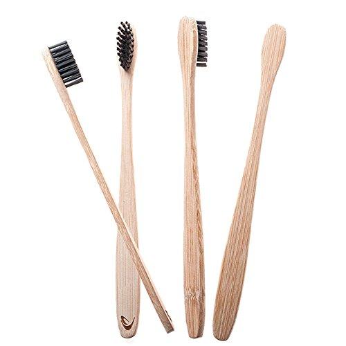 Drawoz 4 Teile/satz Bambus Zahnbürste mit Holzkohle Borsten Natürliche Zahnpflege für Home Familie Reisen -