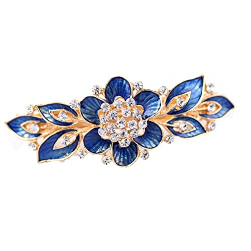 YAZILIND Gold Plated Bridal Hair Accessory Shinning Hair Barrette for Women Clips Hair Hairpins-Blue