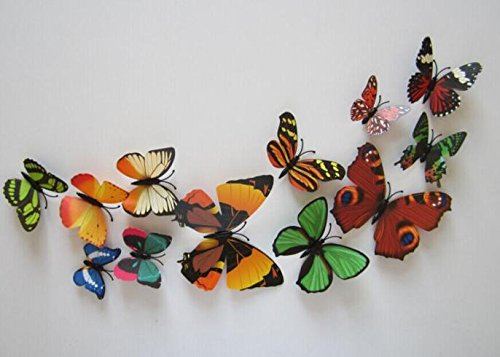 Kühlschrankaufkleber Küche Serria® 12pcs Decal Wall Stickers Hauptdekorationen 3D Butterfly Colorful
