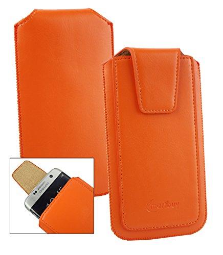 Emartbuy® Sleek Bereich Orange PU Leder Slide in Hülle Tasche Sleeve Halter (Größe LM2) Mit Zuglasche Mechanismus Geeignet Für Slok C2 Dual SIM Smartphone