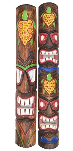 i Masken 100cm Schildkröten im Hawaii Style Motivmasken Wandmasken Holzmaske Maske Osterinsel ()
