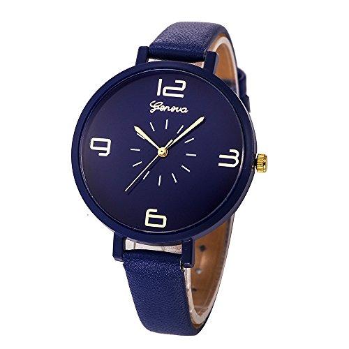 Armbanduhr Frauen,Weant Damen Uhr Diamant Schlicht Geschäft Armband Uhren Frauen Hakenschnalle Rundes Zifferblatt Quarz Analog Kunstleder Armbanduhren Für Frauen (blau)