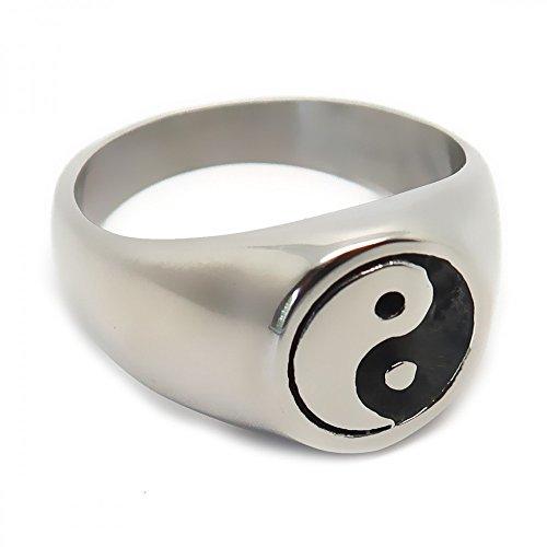 BOBIJOO Jewelry - Anillo Anillo Anillo Unisex Hombre Mujer Yin (Negro) y el Yang (Blanco) de Acero, de Plata - 24 (11 US), Acero Inoxidable 316