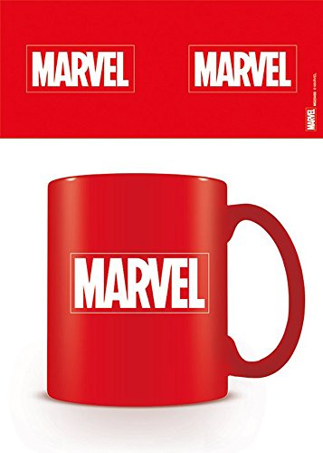 Mug Marvel (empireposter - Marvel - Logo - Größe (cm), ca. Ø8,5 H9,5 - Lizenz Tassen, NEU - Beschreibung: - Keramik Tasse Doppelwandig, Konisch, Boden Ø6cm. Füllmenge: ca. 450ml. mit Silikondeckel -)