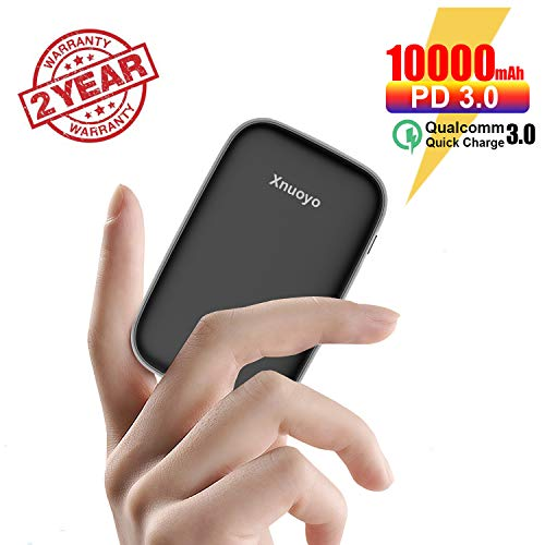 Xnuoyo 10000mAh PD Mini Power Bank, Type-C PD 18W QC 3.0 Power Delivery Externer Akku Quick Charge Powerbank mit LED-Anzeige Kompatibel mit Smartphones(Black)