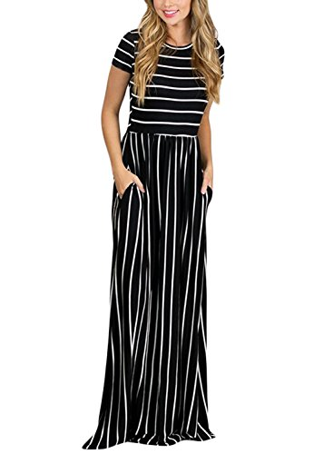 Happy Sailed Womens Short Sleeve Striped Maxi Dresses with Pockets