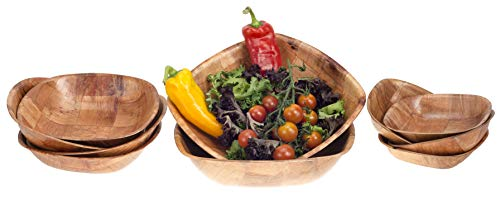 Brokson 10-teiliges Bambus Quadrat Salatschüssel/Dipschale/Snackschale