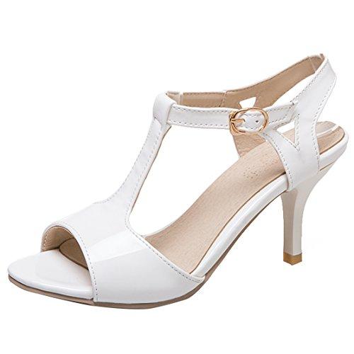 AIYOUMEI Damen T-spangen Sandalen Stiletto High Heels Sandaletten Lack Riemchen Pumps Schuhe Patent T-strap Pump