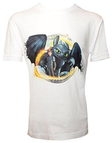 Camiseta para Niño con Diseño de DreamWorks Cómo Entrenar a tu Dragón, HIPO y Desdentado, Blanco - 140/146