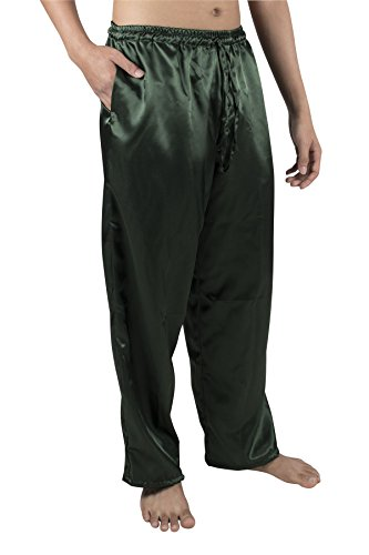 Lofbaz Herren Klassische Seide Satin Lange Pyjama PJ Lounge Hosen S-5XL Plus Feste Dunkelgrün