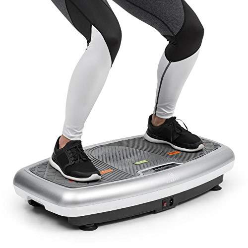 Klarfit Vib 1000 • Vibrationsplatte • Vibrationstrainer • Fitnessgerät • 30 Intensitätsstufen • Trainingscomputer • LCD-Display • Bodenrollen • platzsparend • max. 120 Kg • Fitness-Bänder • Silber