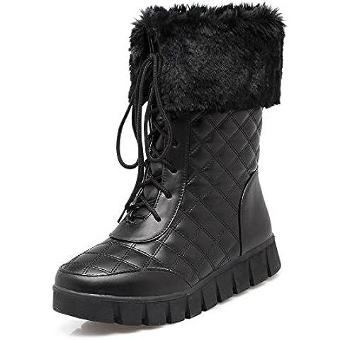 VogueZone009 Donna Allacciare Punta Tonda Tacco Basso Bassa Altezza (I Migliori Donne Di Inverno Boots)