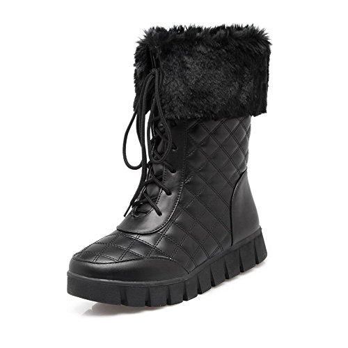 AgooLar Damen Weiches Material Schnüren Rund Zehe Niedrig-Spitze Stiefel mit Knoten, Schwarz, 34
