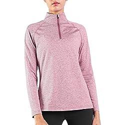 Ogeenier Fleece 1/4 Zip Camiseta Deportiva de Manga Larga con Cuello Alto Mujer Sudadera Cálida
