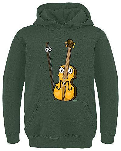 HARIZ Kinder Hoodie Geige Lachend Instrument Kind Lustig Inkl. Geschenk Karte Dunkel Grün 128/7-8 Jahre (Lustig Womens T-shirt Dunklen)