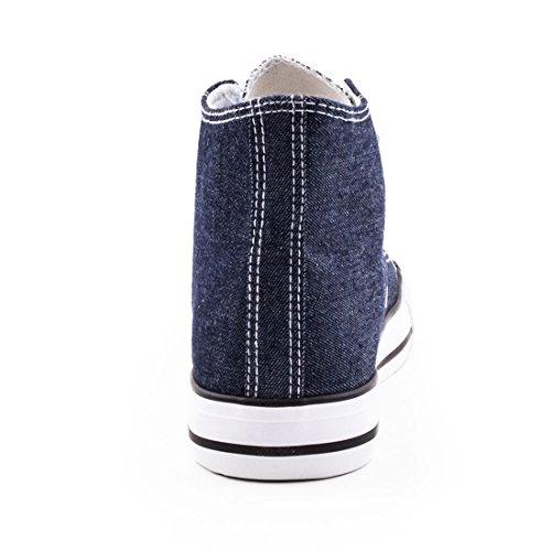 Damen High Top Turnschuhe Sneaker Textil Canvas Schuhe Dunkelgrau