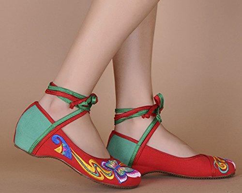 Icegrey Scarpe Donna Ballerine Ricamato A Mano Etnica Caviglia Merletta In Su Slip On Calzature Rosso verde