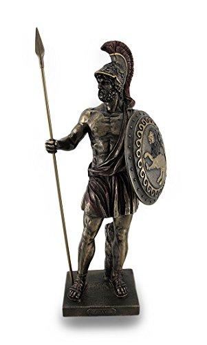 Zeckos Griechischer Held Ajax The Great halten Speer und Schild Bronze Finish Statue -