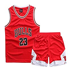 FILWS Basketball Trikots Michael Jordan Kinder Basketball Uniform Set Männer Und Frauen Kindertraining Tragen Schweiß Absorbierende Atmungsaktive Fan Sweatshirt