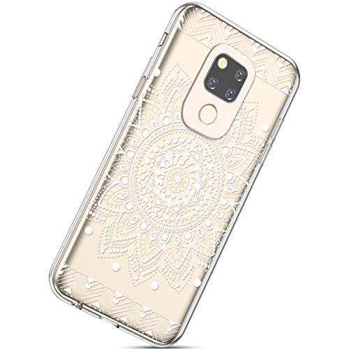 Kompatibel mit Handyhülle Huawei Mate 20 Durchsichtig Silikon Schutzhülle Kratzfeste Kristall Transparent Silikonhülle Crystal Clear TPU Bumper Case TPU Cover Weich Hülle,Weiße Blume